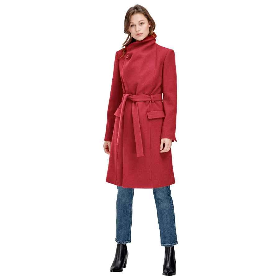 Ellos Women's Plus Size Wrap-Collar Wool-Blend Coat