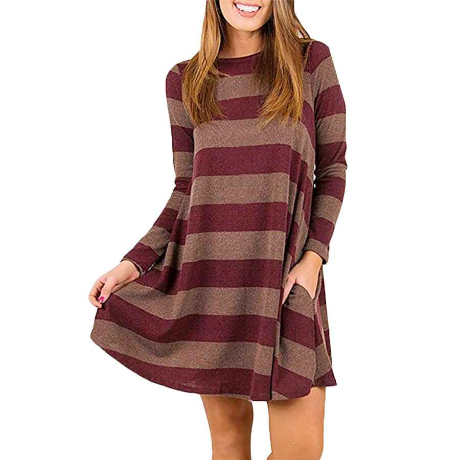 Womens Casual Dresses Rephyllis Women's Long Sleeve Plaid Casual Loose Tunic Swing Dress
