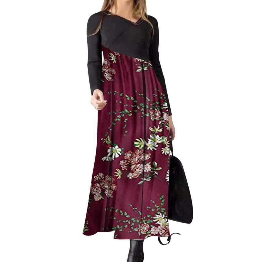Womens Casual Dresses Bonny Billy Women's Casual Color Block X-Neckline Maxi A-Line Dress