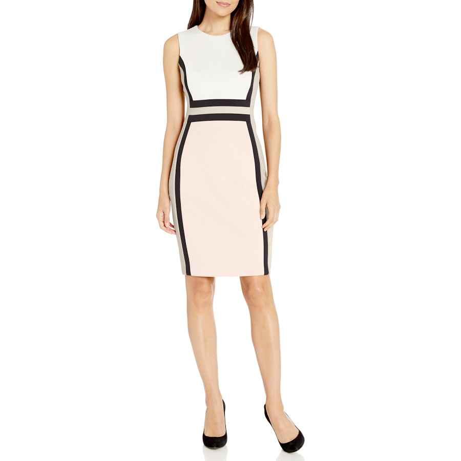Womens Casual Dresses Calvin Klein Women's Sleeveless Color Block Sheath Dress