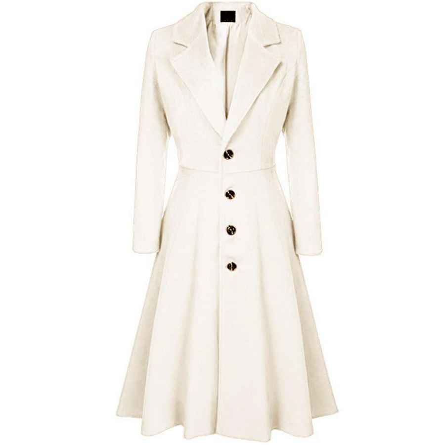 Newbestyle Women's Single-Breasted Trench Coat Suit Collar A-Line Flare Hem Wool Blended Dress Blazer Coats
