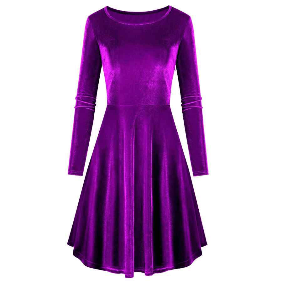Womens Casual Dresses Akewei Women's Velvet Long Sleeve A-Line Swing Party Mini Dress