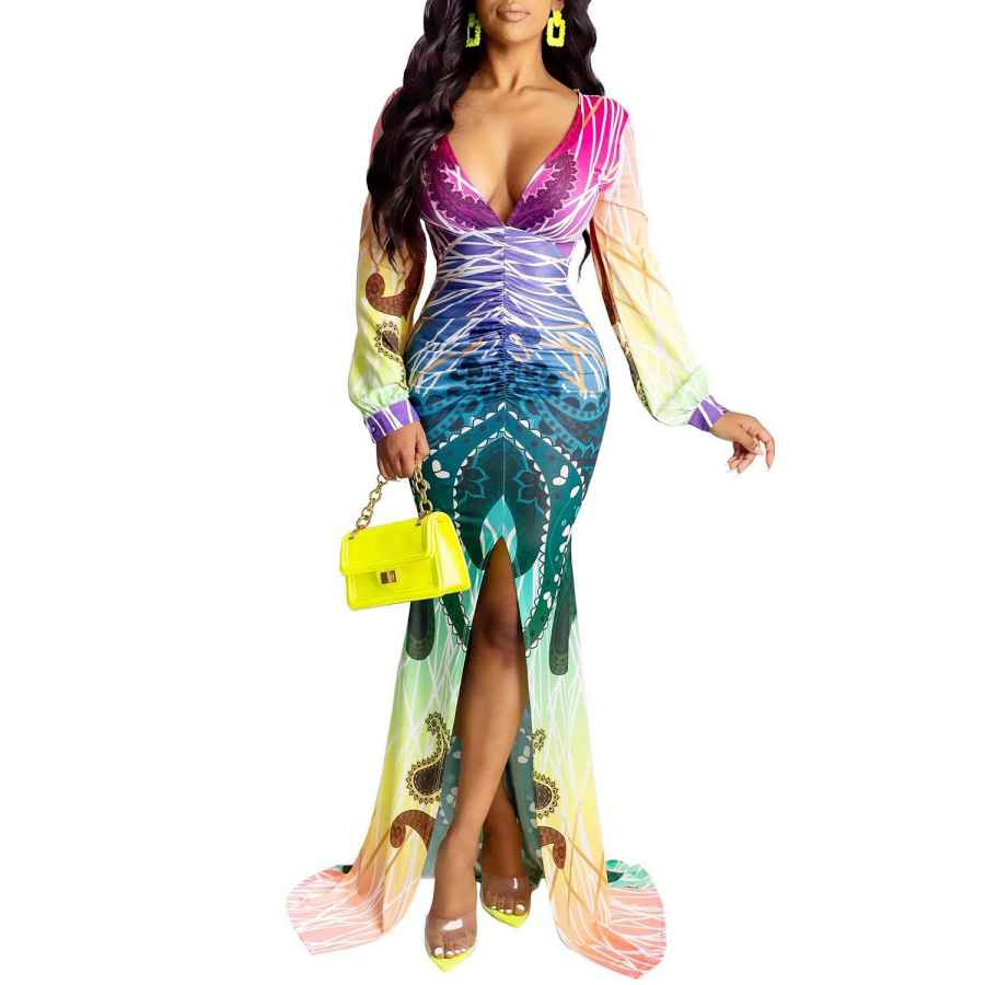 Womens Casual Dresses Women's Sexy Deep V Neck Backless Floral Beach Dress Split Maxi Party Dress