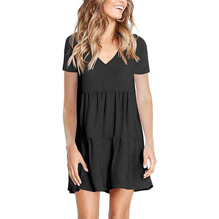 Womens Casual Dresses Beyove Womens Summer Casual V Neck Short Sleeve Ruffle Swing Tunic T Shirt Dress