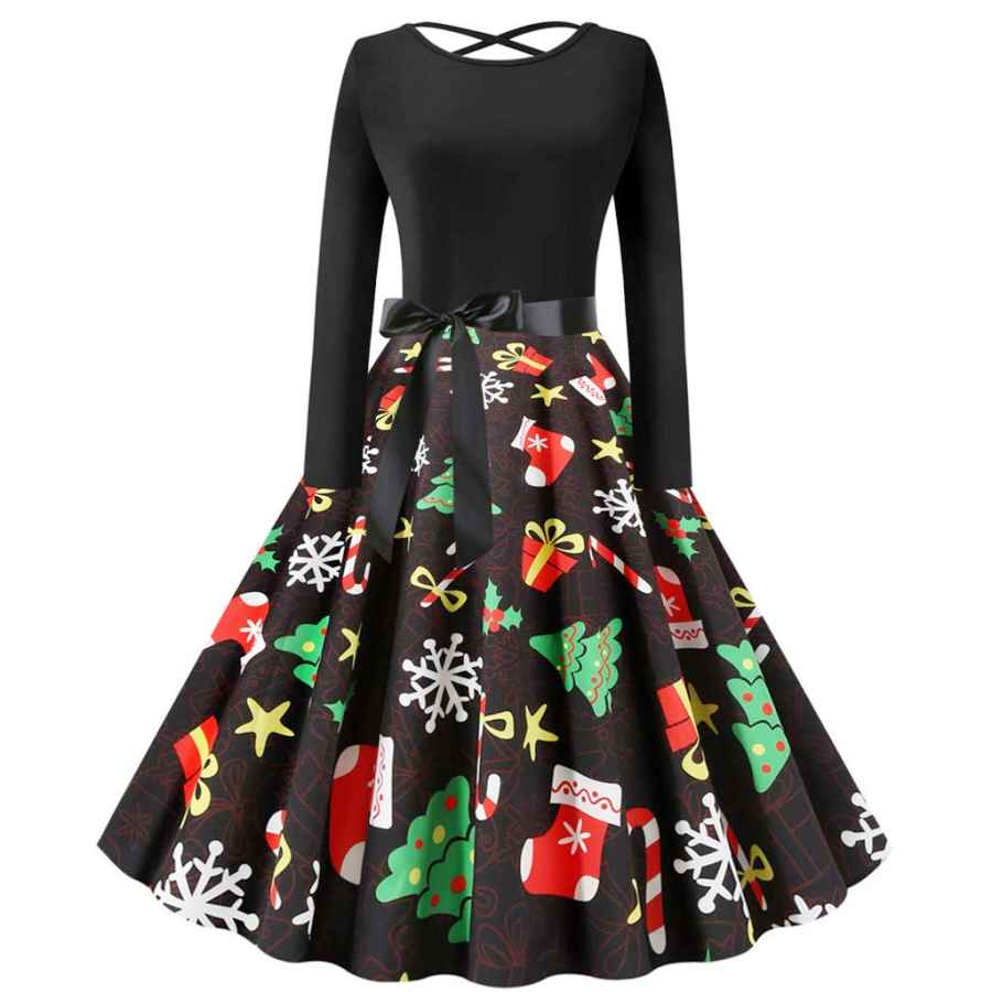 Womens Casual Dresses Christmas Dress For Women 50s Vintage Sleeveless Retro Cocktail A- Line Xmas Snowflake Printed Swing Party Dress Costume