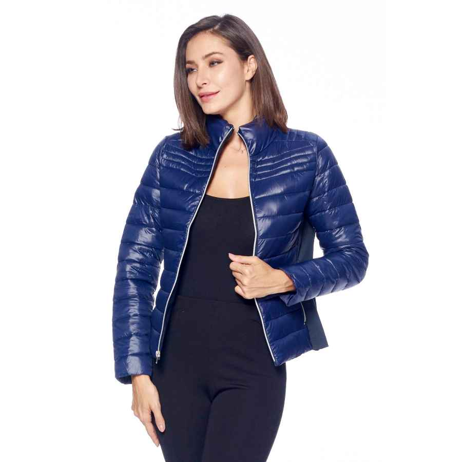 Ci Sono Women's Fitted Quilted Zip Up Warm Puffer Jacket With Pockets