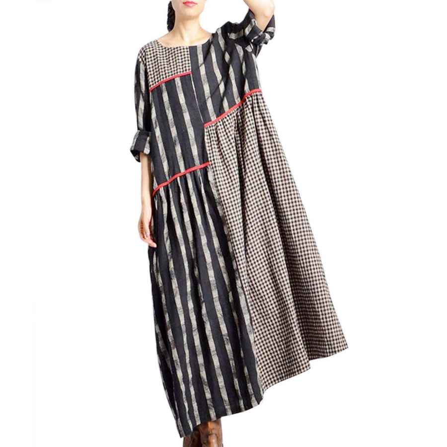 Womens Casual Dresses Yesno Women Casual Crew Neck Stripe And Plaid Stitched Color Block Long Maxi Dress Long Sleeve A-Line Hem W/Pockets Jhh