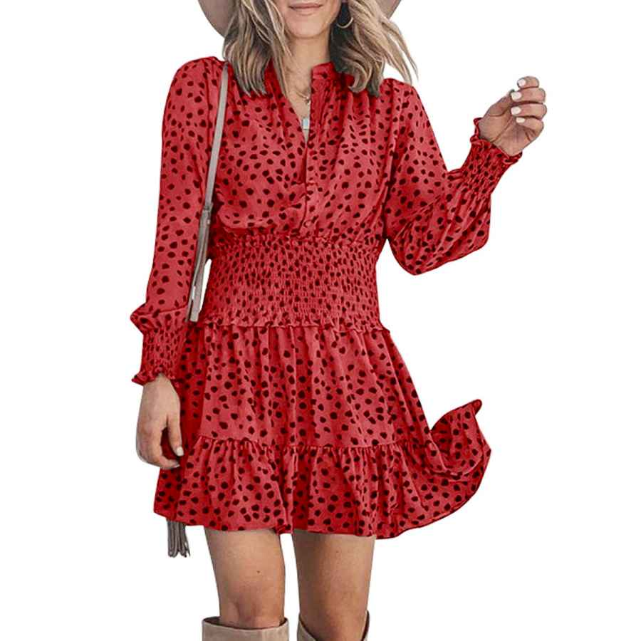 Womens Casual Dresses Millchic Women Round Neck Button Long Sleeve Polka Dot Ruffle Wrap Party Dress