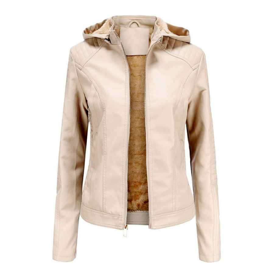 Dontal Winter Warm Women Short Coat Leather Biker Jacket Parka Zipper Tops Overcoat Outwear