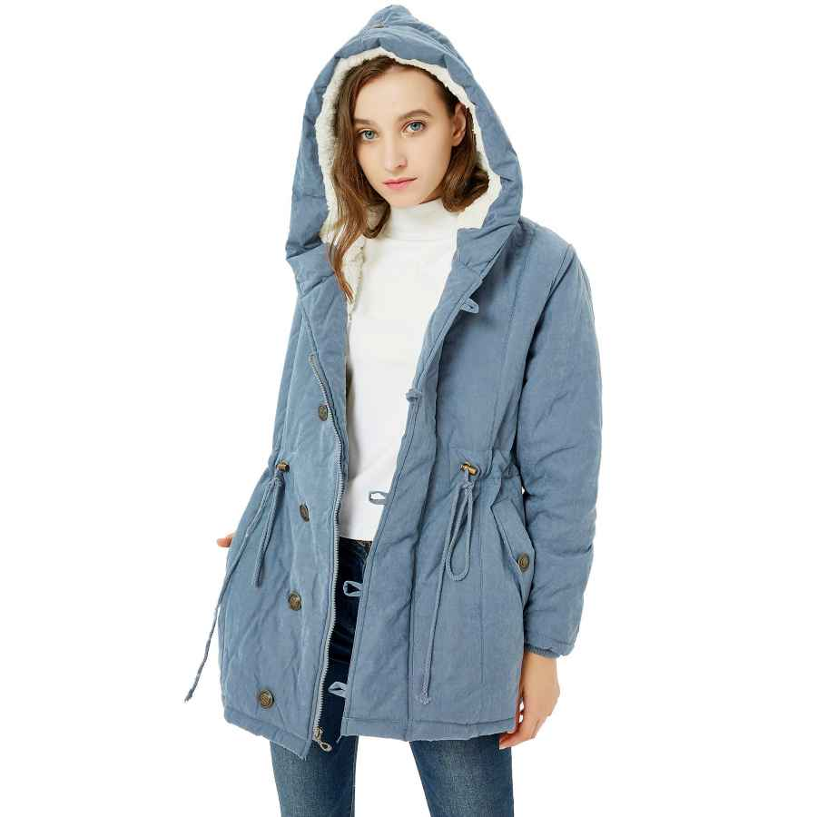 Nipogear Women's Winter Warm Coat Hoodie Parkas Overcoat Fleece Outwear Jacket With Drawstring
