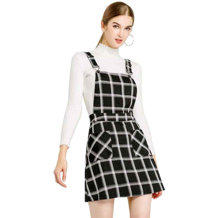 Womens Casual Dresses Allegra K Women's Plaids Adjustable Strap Above Knee Overall Dress Skirt