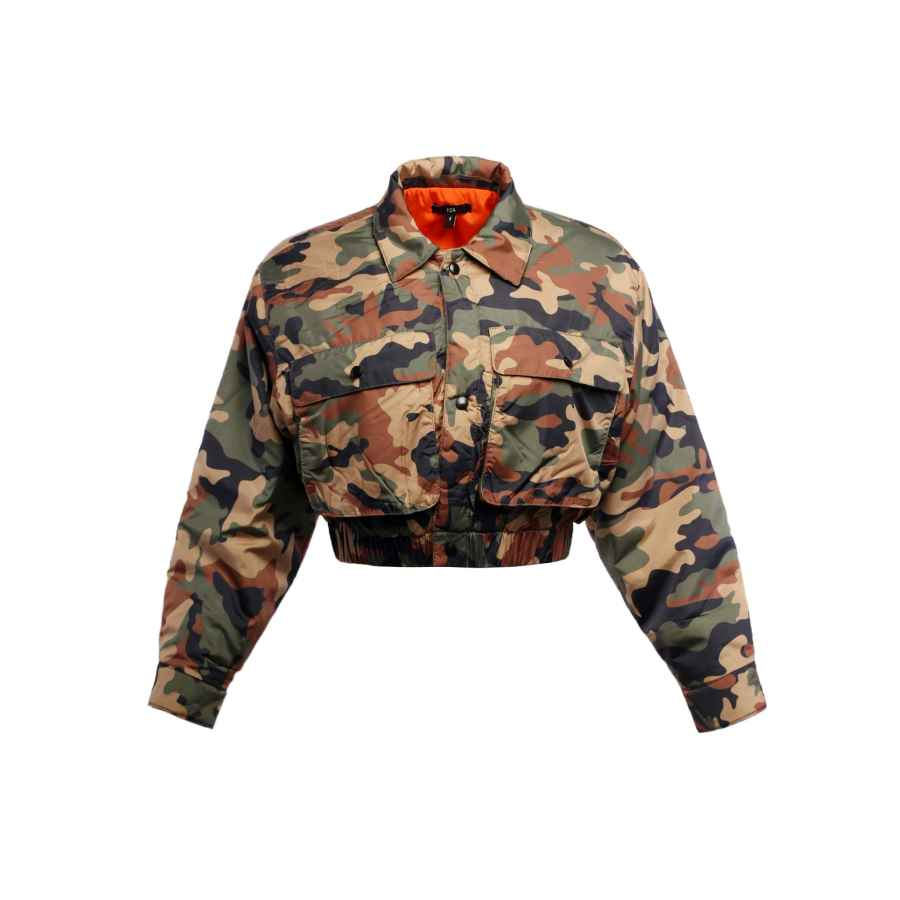Women's Cropped Front Two Pocket Snap Quilted Padding Bomber Jacket