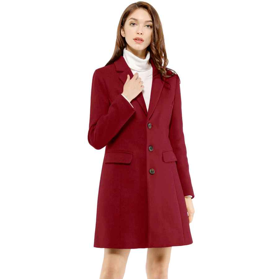 Allegra K Women's Notched Lapel Single Breasted Outwear Winter Coat