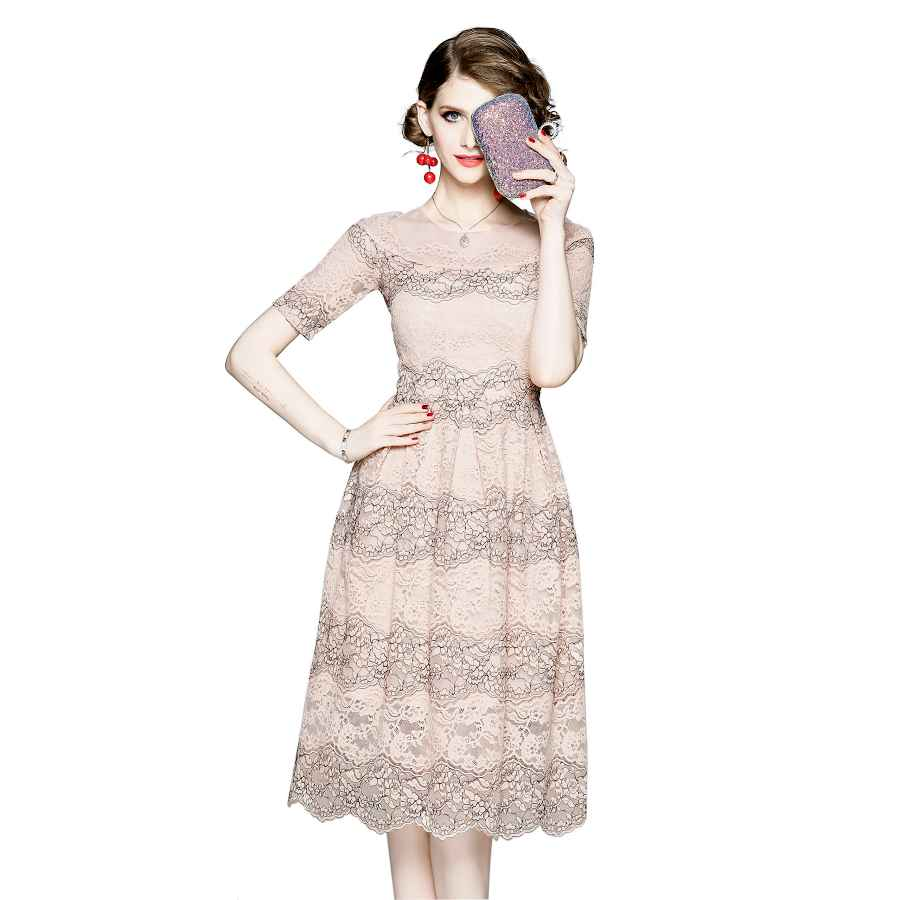 Womens Casual Dresses Holiday Womens Floral Embroidered Sheer Mesh Casual A-Line Midi Dress