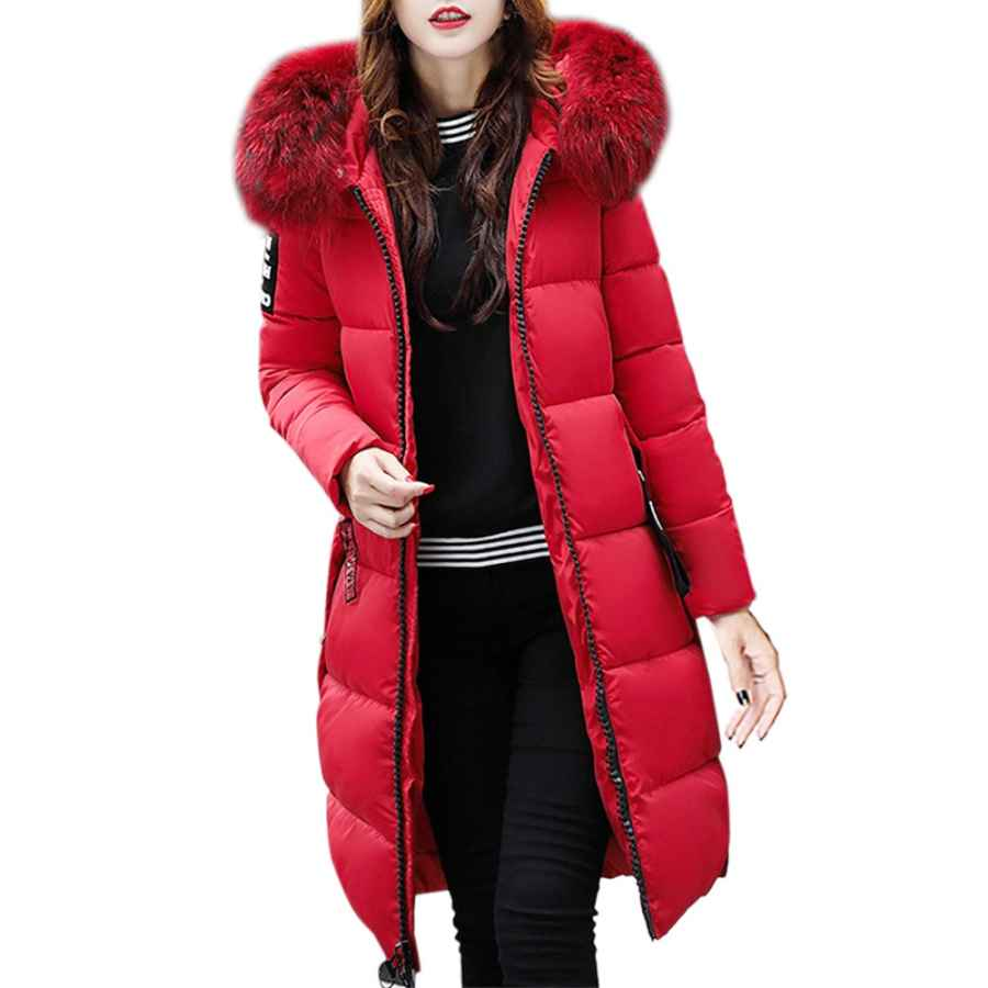 Diomor Womens Fashion Down Coat With Fur Hood Outdoor Warm Parkas Long Puffer Jacket Thicken Snow Jacket Outerwear