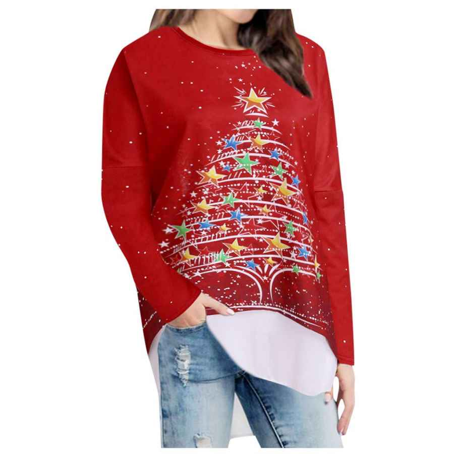 Womens Casual Dresses Ulanda Women's Christmas Pullover Sweatshirt Zipper Snowflake Dots Print Hoodies Tunic Tops For Xmas Holiday Party
