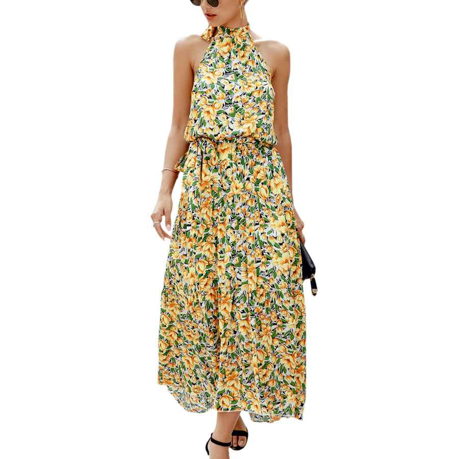 Womens Casual Dresses Ecowish Women Dress Halter Neck Boho Floral Print Sleeveless Casual Backless Maxi Dresses With Belt