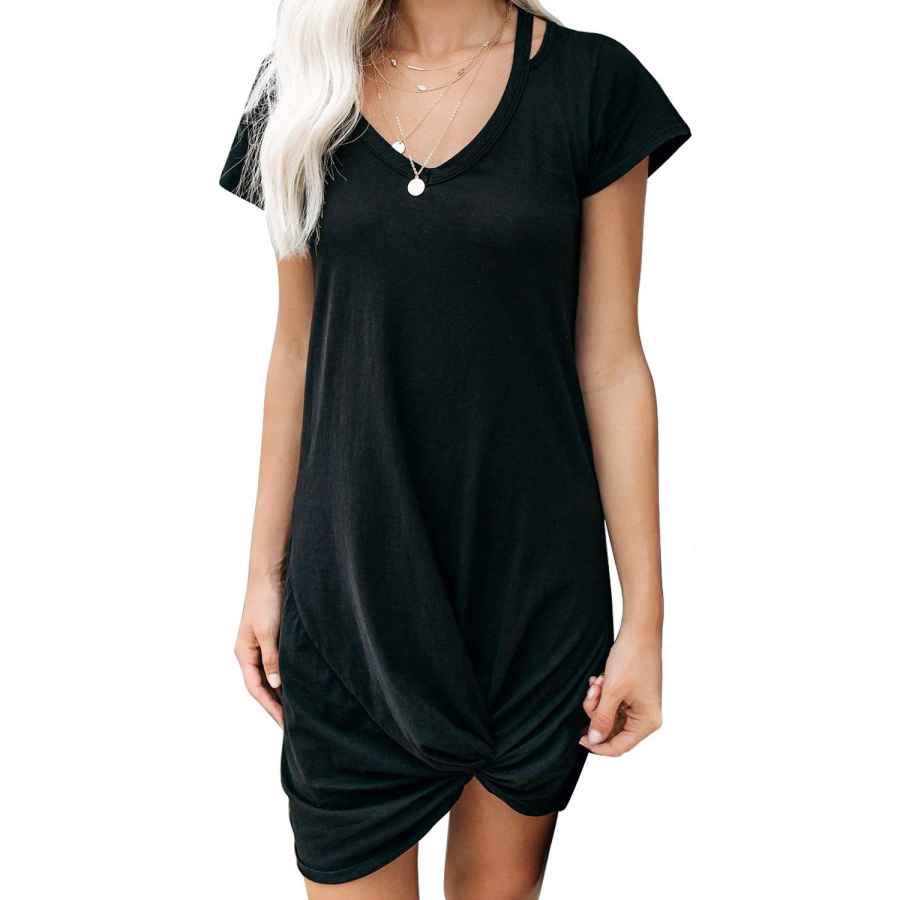 Womens Casual Dresses Evaless Womens Tshirt Dresses V Neck Short Sleeve Side Knot Mini Dress