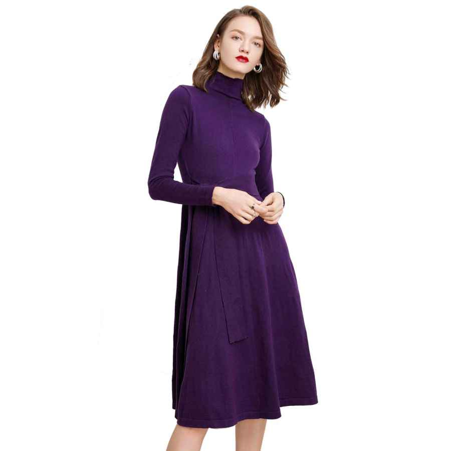 Womens Casual Dresses Cashmere Sweater Dress Long Maxi Turtleneck Flowy Pleated Dresses With Belt