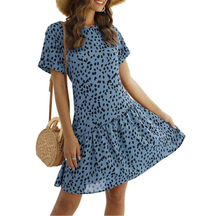 Womens Casual Dresses Simplee Women's Polka Dot Flowy Tunic Loose Casual Mini Dress