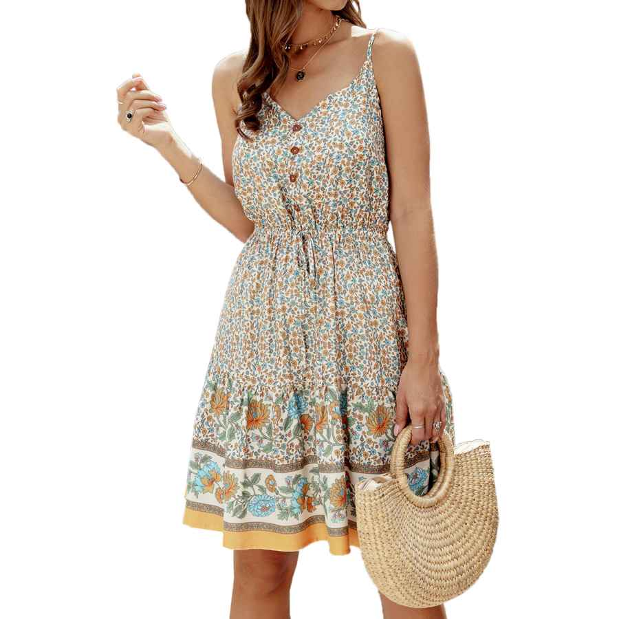 Womens Casual Dresses Angashion Womens Summer Casual Floral Spaghetti Strap V Neck Boho Button Backless Mini Swing Skater Dress