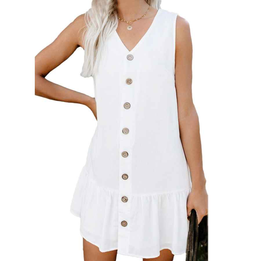 Womens Casual Dresses Asvivid Womens Summer Button V Neck Sleeveless Short Tank Dress Ruffle Swing Mini Casual Dresses