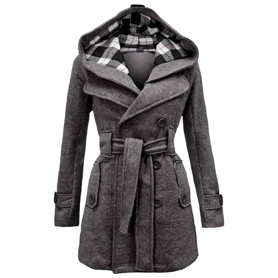 Yming Women's Casual Fall Peacoat Trench Double Breasted Pea Coat Midi Length S-2xl